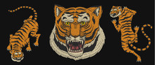 Asian Tigers In Vintage Japanese Style For Logo. Face Close Up. Wild Animals Cats. Predators From The Jungle. Hand Drawn Engraved Monochrome Old Sketch For Tattoo T-shirt Or Web Site.