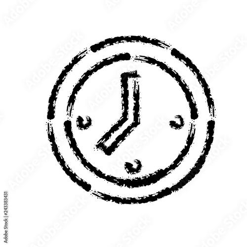 Fototapeta brush stroke hand drawn vector icon of clock face obraz na płótnie