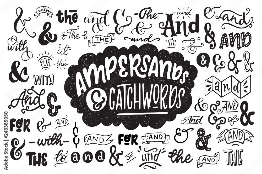 Fototapety, obrazy: Big set of hand drawn ampersands ans catchwords