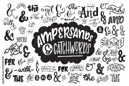 Valokuva  Big set of hand drawn ampersands ans catchwords