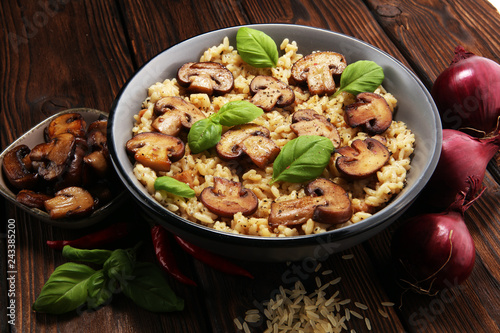 risotto with mushrooms, fresh herbs and parmesan cheese