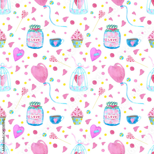 Poster Hibou Seamless pattern with watercolor elements of hearts, balls, key, love letter, flowers, hearts and arrows. Background for wedding and invitation for Valentine's Day or wedding.