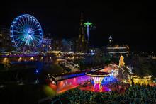 High Angle View Of Illuminated Christmas Market In Edinburgh At Night
