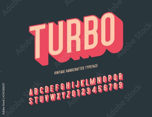 Valokuva  turbo vintage handcrafted 3d alphabet. vector illustration