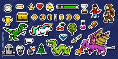 Obraz na plátně Pixel art 8 bit objects