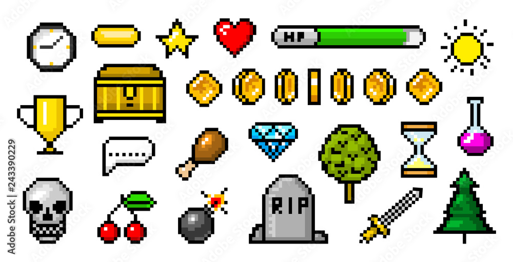 Fototapeta Pixel art 8 bit objects. Retro game assets. Set of icons. Vintage computer video arcades. Coins and Winner's trophy. Vector illustration.
