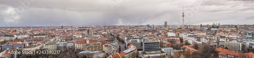 BERLIN, GERMANY - , Berlin with the district Mitte and Pankow with Berlin TV Tower and Berlin Cathedral in the rear and red town hall - aerial view, panorama