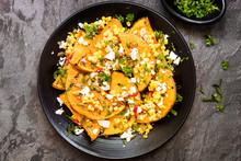 Roasted Butternut Squash Or Pumpkin With Sweetcorn Salsa Feta And Pepitas