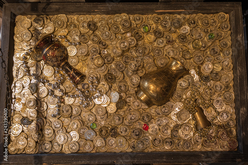 Top view of treasure chest full of gold coins, gold vase and pot Fototapeta