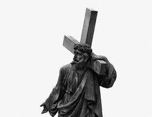 The Statue Of Jesus Christ With A Cross And A Thorn Wreath On The Head (religion, Christianity, Faith Concept)