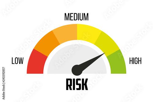 Fotografie, Obraz  Risk concept on speedometer. Vector icon