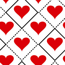 Geometric Seamless Pattern With Black Squares And Red Hearts On White Background. Vector Illustration