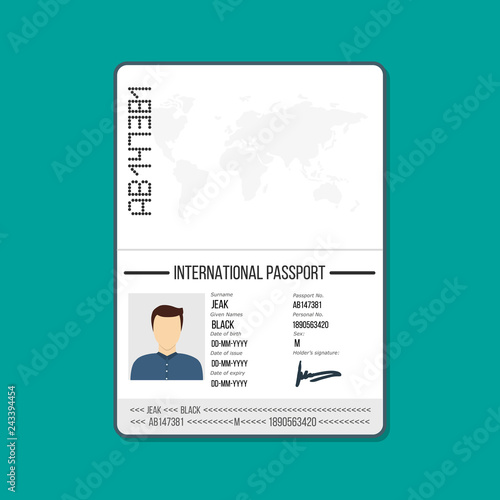 Cartoon ID card or Car driver license  Male passport template Vector