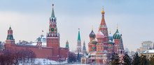 Moscow. Russia. St Basil's Church. Kremlin. View Of The Red Square. Panorama Of Moscow. Moscow In The Winter. Capital Of Russia. Panorama Of The Red Square. Spasskaya Tower Of The Kremlin.