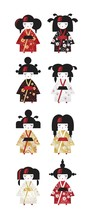 Set Of Japanese Traditional Kokeshi Dolls In National Costumes Kimono In Cartoon Style