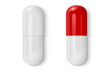 Vector 3d Realistic White and Red Medical Pill Icon Set Closeup Isolated on White Background. Design template of Pills, Capsules for graphics, Mockup. Medical and Healthcare Concept. Top View