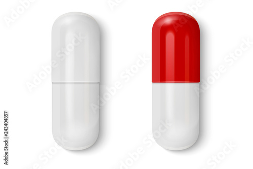 Fotografia Vector 3d Realistic White and Red Medical Pill Icon Set Closeup Isolated on White Background