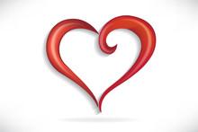 Heart Love Stylized Swirl Vect...