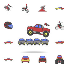 Bigfoot Car Jumping Through Cars Field Coloricon. Detailed Set Of Color Big Foot Car Icons. Premium Graphic Design. One Of The Collection Icons For Websites, Web Design, Mobile App