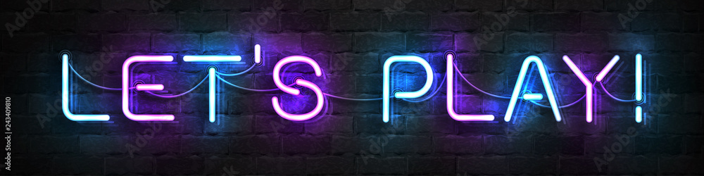 Fototapety, obrazy: Vector realistic isolated neon sign of Let's Play logo for template decoration and covering on the wall background.