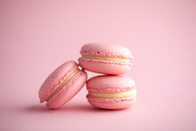 Pink French Cookies Macarons On A Pink Background