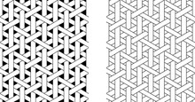Outline Seamless Weave Rattan Pattern, Vector Art
