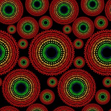 Circle Wheel Africa Tribal Chain Tattoo Seamless Pattern And Rough Texture Vector With Red Yellow And Green On Dark Black Background