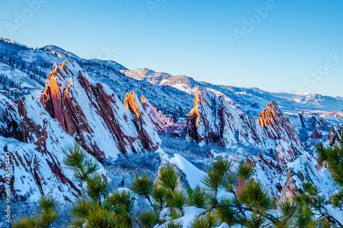 Hiking in the Red Rocks in Winter in Denver, Colorado Wallpaper Mural