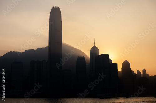 Photo  Silhouette of Hong Kong Victoria Harbour