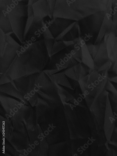 Fototapety, obrazy: background of close up black color wrinkled clothes, black crumpled textile background