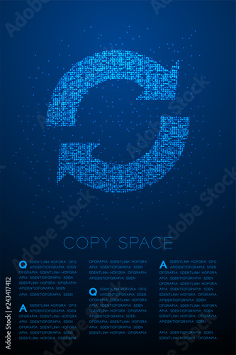 Obraz na plátne Abstract Geometric Bokeh circle dot pixel pattern Sync sign icon, Data technolog