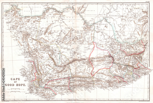 Old Map of the Cape of Good Hope, 1860, Blackie Canvas-taulu