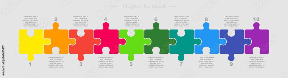 Fototapeta Puzzle Ten Pieces Parts for Business Presentation.