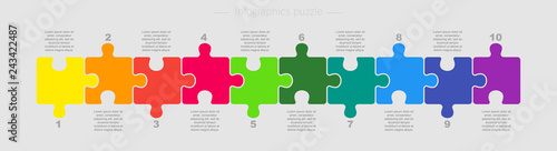 Obraz Puzzle Ten Pieces Parts for Business Presentation. - fototapety do salonu