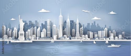 Fototapeta Manhattan,New York City panorama skyline with urban skyscrapers, Paper art 3d from digital craft style. obraz
