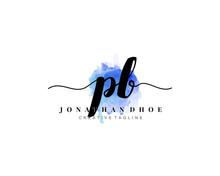P B Initial Watercolor Logo On...