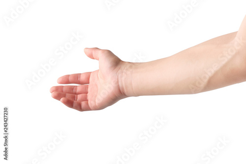 Hands extended to the front showing help isolated on white Fototapet