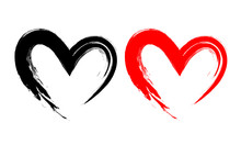 Black And Red Heart Shape. Des...