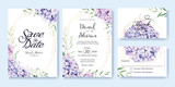 Fototapeta Kwiaty - Wedding Invitation, save the date, thank you, RSVP card Design template. Vector. hydrangea flowers, olive leaves. Watercolor style.
