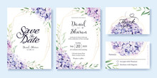 Wedding Invitation, Save The Date, Thank You, RSVP Card Design Template. Vector. Hydrangea Flowers, Olive Leaves. Watercolor Style.