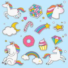 Cute Unicorns With Magic Eleme...