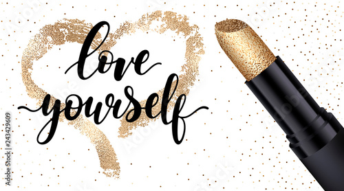 Fotografía  Love yourself - black handwritten lettering with black lipstick tube, golden heart shape isolated on white background with confetti