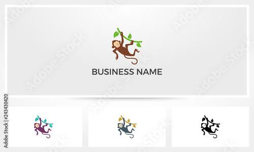 Fényképezés  Monkey Hanging On Branch Logo
