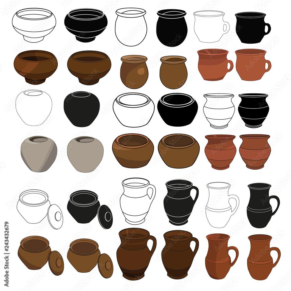 Fototapety, obrazy: isolated, clay pots, set