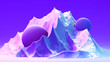 canvas print picture - 3d abstract background with space for text. Futuristic planet in purple, ink and blue colors. Bright trendy gradients. Mix of matt and glossy textures. Scene for posters, flyers, web and social media