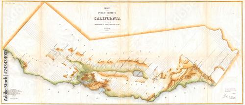 Stara mapa Kalifornii, mapa ścienna rozmiar 1854, badanie lądowe