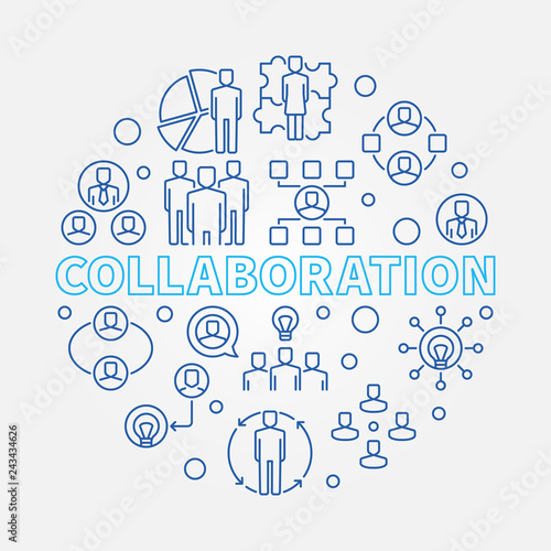 Collaboration vector concept round illustration in outline style Canvas-taulu