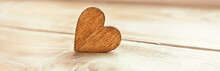One Wooden Heart On The Wooden Table