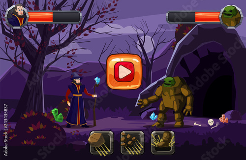 Night fantasy landscape, mountain, cave. trees, autumn. Fairy magician in a hat with a staff and an golem in battle, skill buttons and bars of life. For games and applications. Vector, illustration