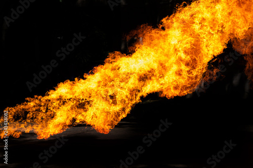 Fotografie, Obraz  Flames caused by the explosion of the oil isolated on black background